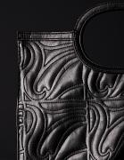 leather handbag, black, shiny, ornament embroidery, carrier bag style