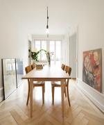 zwinglistrasse, zurich, architecture, design, diningtable, wood, plumen, pendant lamp