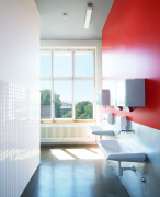 UZH, university, zurich, architecture, bathroom, red
